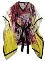 ROBERTO CAVALLI - SHEER MULTICOLOR SILK FLORAL PONCHO / DRESS - IT 42 / ... - £164.33 GBP