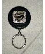 H19 Key / square dance towel holder on pull-out chain. Black w/silver 3D... - $3.95