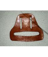 H17 Glazed tan leather square dance towel holder w/gold square dancers i... - $7.91