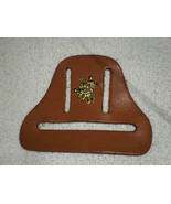 H22 Tan leather square dance towel holder w/gold metal 3D square dancers - $7.91