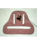 H25 Beige suede square dance towel holder w/gold metal 3D dancers - $7.91