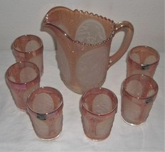IMPERIAL BY LENOX MARIGOLD CARNIVAL FROSTED WINDMILL PITCHER AND 6 GLASSES - $120.94