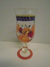 Hand Painted Strawberry Orange Fruit Water Glass  Base Green Red Goblet ... - $27.76