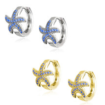 Nautical Starfish Huggie Hoop Earrings Micro Sapphire 14k Yellow Or Whit... - $30.87+