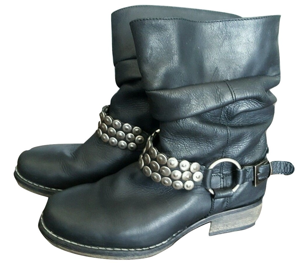 Primary image for Steve Madden P-COINZ studded ruched black leather bootie biker boots 6 M used