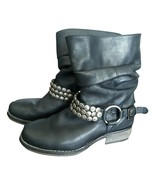 Steve Madden P-COINZ studded ruched black leather bootie biker boots 6 M used - $98.58