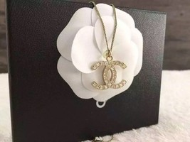 AUTHENTIC Chanel Classic Large CC Logo Necklace Square Crystal Gold Pendant - $529.99