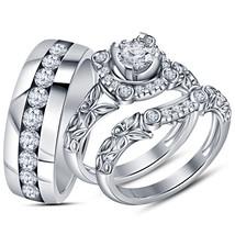 14K W/Gold FN 925 Silver Round Cut Sim.Diamond Trio Wedding Ring Set & Free Gift - $159.62