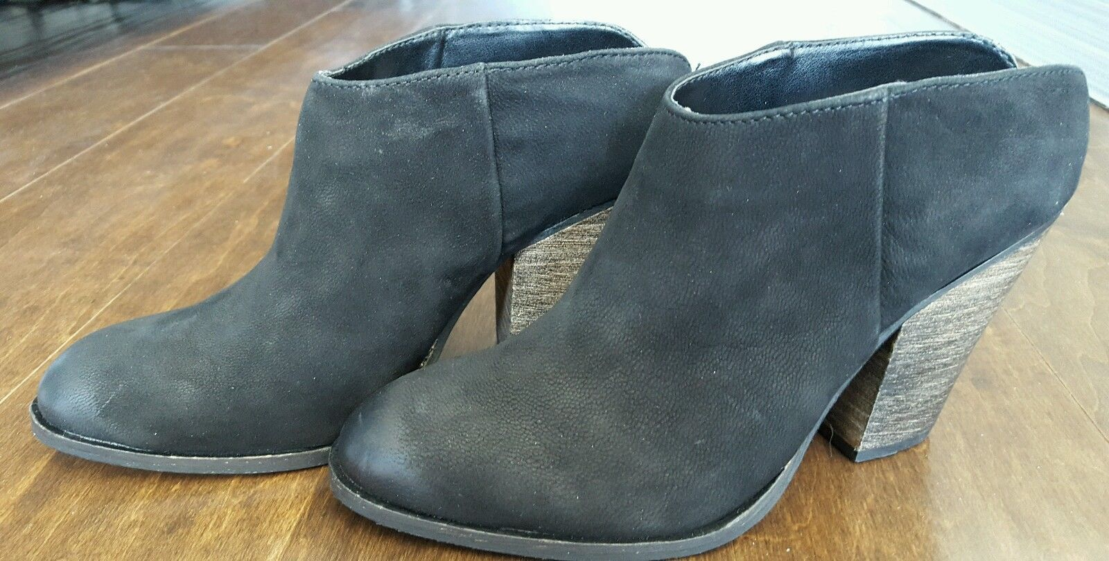 Steve Madden Hilltop black leather nubuck ankle bootie boots 5.5 NEW