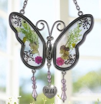 Mom Butterfly Mother Suncatcher with Pressed Flower Wings Mother's Day Gift - $42.98