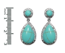 Trendy Pave Clear 5A CZ & Turquoise Teardrop Halo Rhodium Dangle Earrings - $44.55
