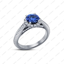 Blue Sapphire Round Cut Engagement Bridal Ring White Gold Plated Sterlin... - ₹5,679.83 INR
