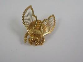 BEE honey MONET vintage pin jewelry broach apis honeybee insect bug golden  - $18.95