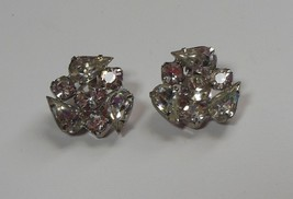 """Vintage GARNE Clear Crystal Rhinestone Clip Earrings 1"""" - $34.65"""