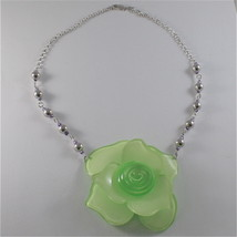 925 SILVER NECKLACE WITH BEAUTIFUL ROSE RESIN AND CUBIC ZIRCONIA, MADE IN ITALY
