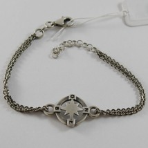 Solid 925 Burnished Silver Winds Compass Rose Disc Black Bracelet Made In Italy - $94.05