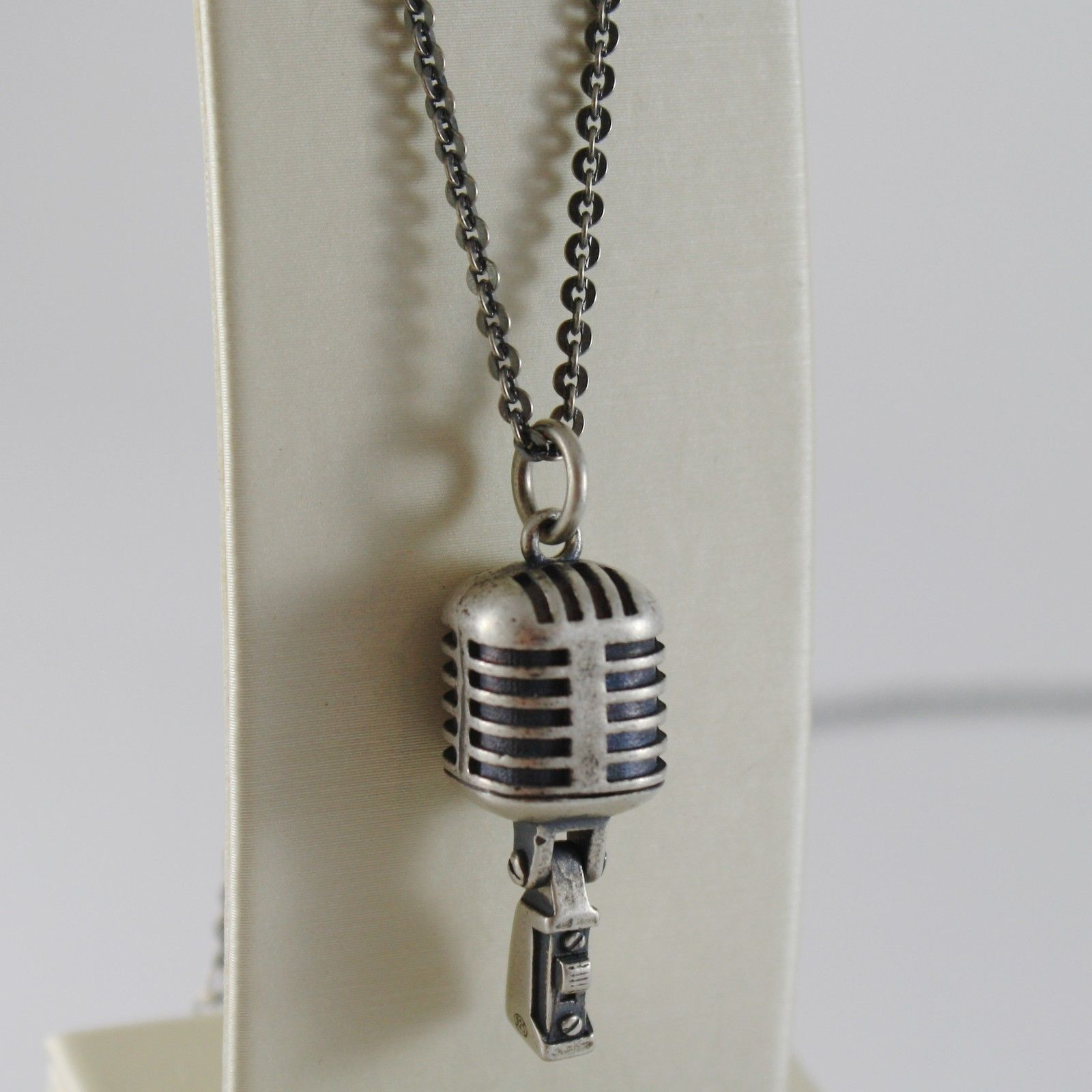 925 BURNISHED SILVER NECKLACE WITH MICROPHONE VINTAGE MIC SPEAKER MADE IN ITALY