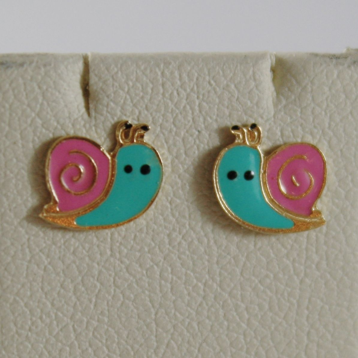 18K YELLOW GOLD CHILD PINK AQUA SNAIL MINI EARRINGS GLAZED, FLAT, MADE IN ITALY