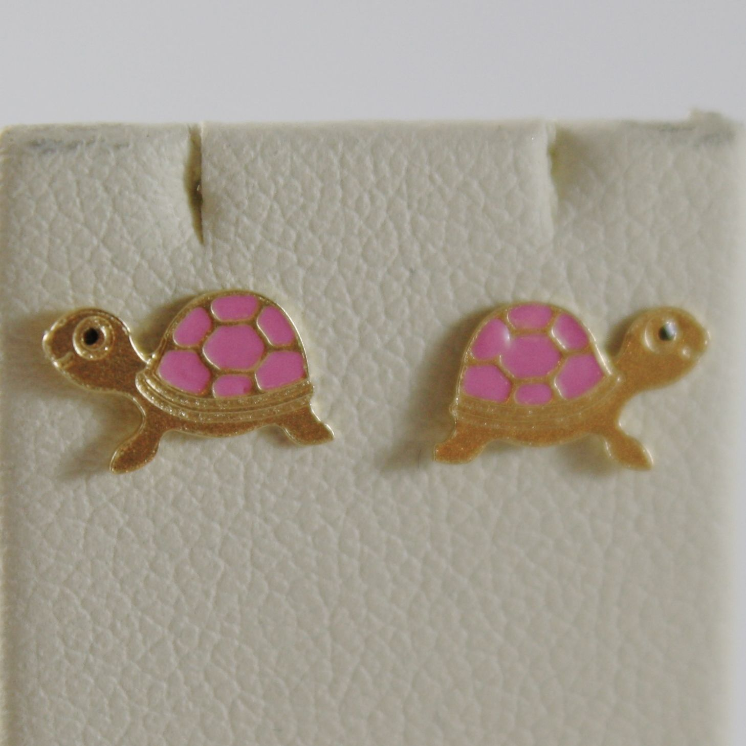 18K YELLOW GOLD CHILD PINK TURTLE MINI EARRINGS GLAZED, FLAT, MADE IN ITALY