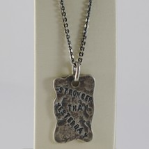 "925 BURNISHED SILVER NECKLACE WITH PLATE ""stronger than yesterday"" MADE ... - $141.55"