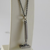 925 BURNISHED SILVER NECKLACE WITH VINTAGE RAZOR BARBER BEARD MADE IN ITALY - $141.55