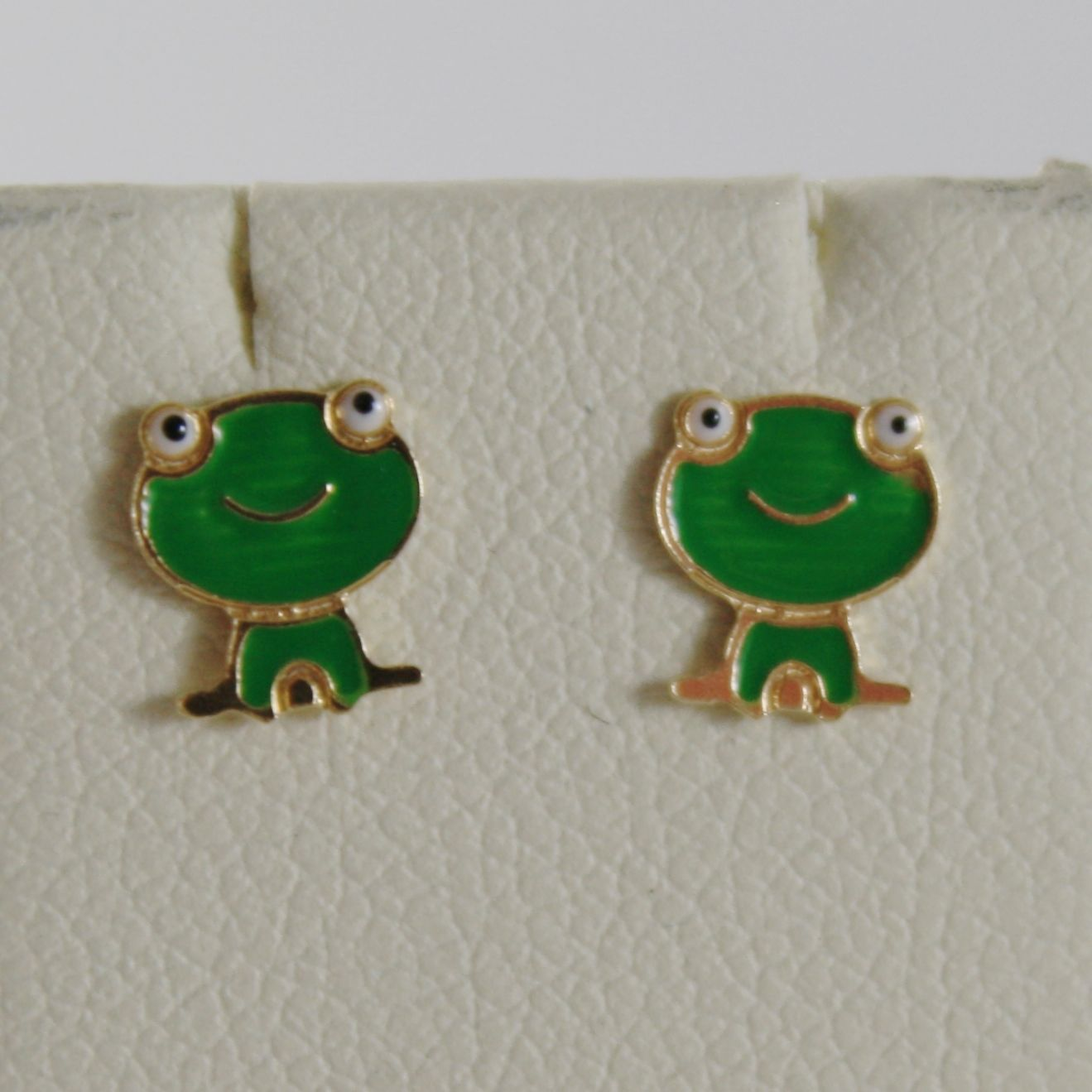 18K YELLOW GOLD CHILD GREEN FROG FROGS MINI EARRINGS GLAZED, FLAT, MADE IN ITALY