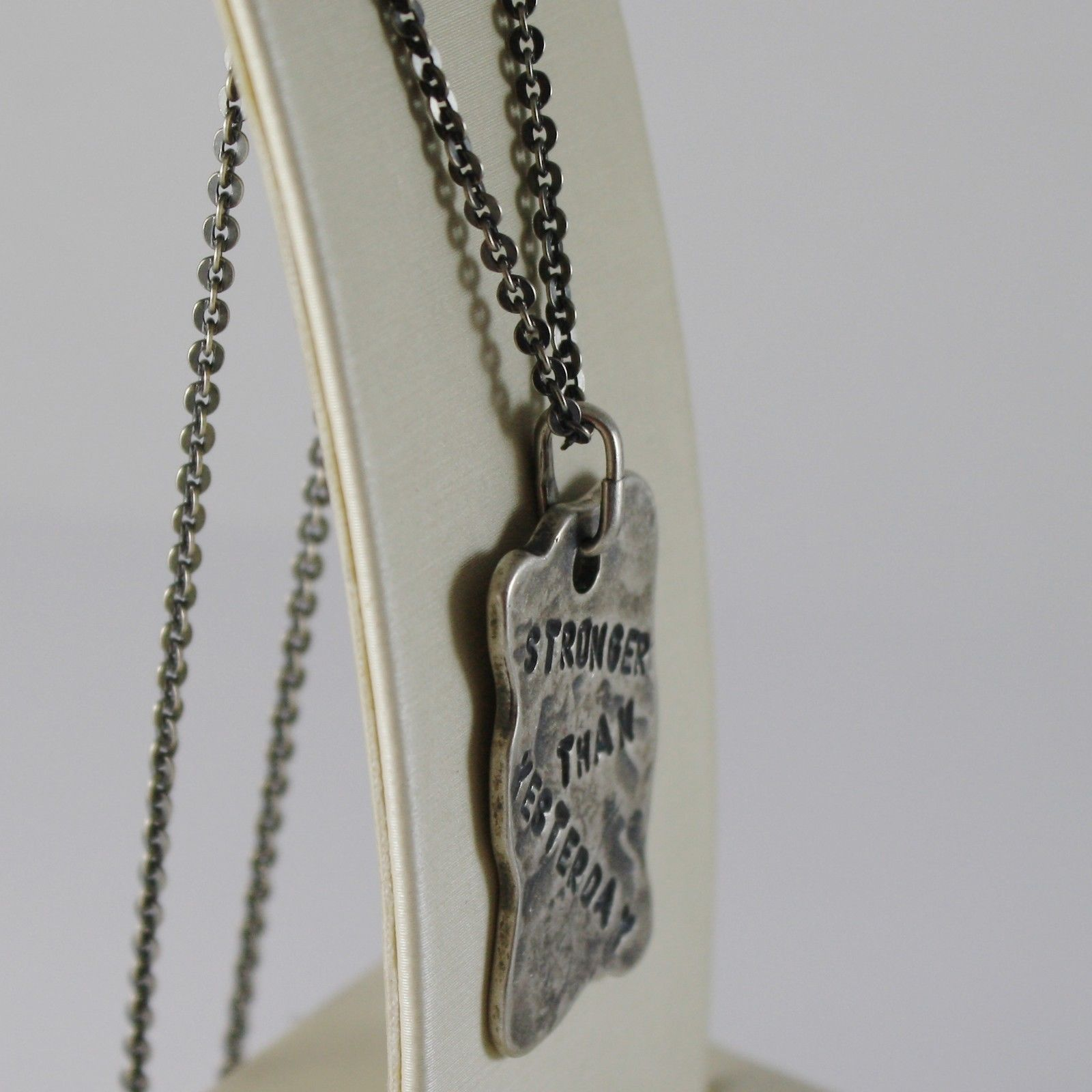 "925 BURNISHED SILVER NECKLACE WITH PLATE ""stronger than yesterday"" MADE IN ITALY"