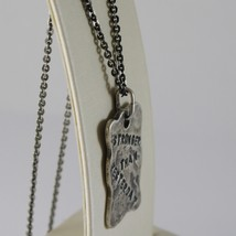 "925 BURNISHED SILVER NECKLACE WITH PLATE ""stronger than yesterday"" MADE IN ITALY image 2"