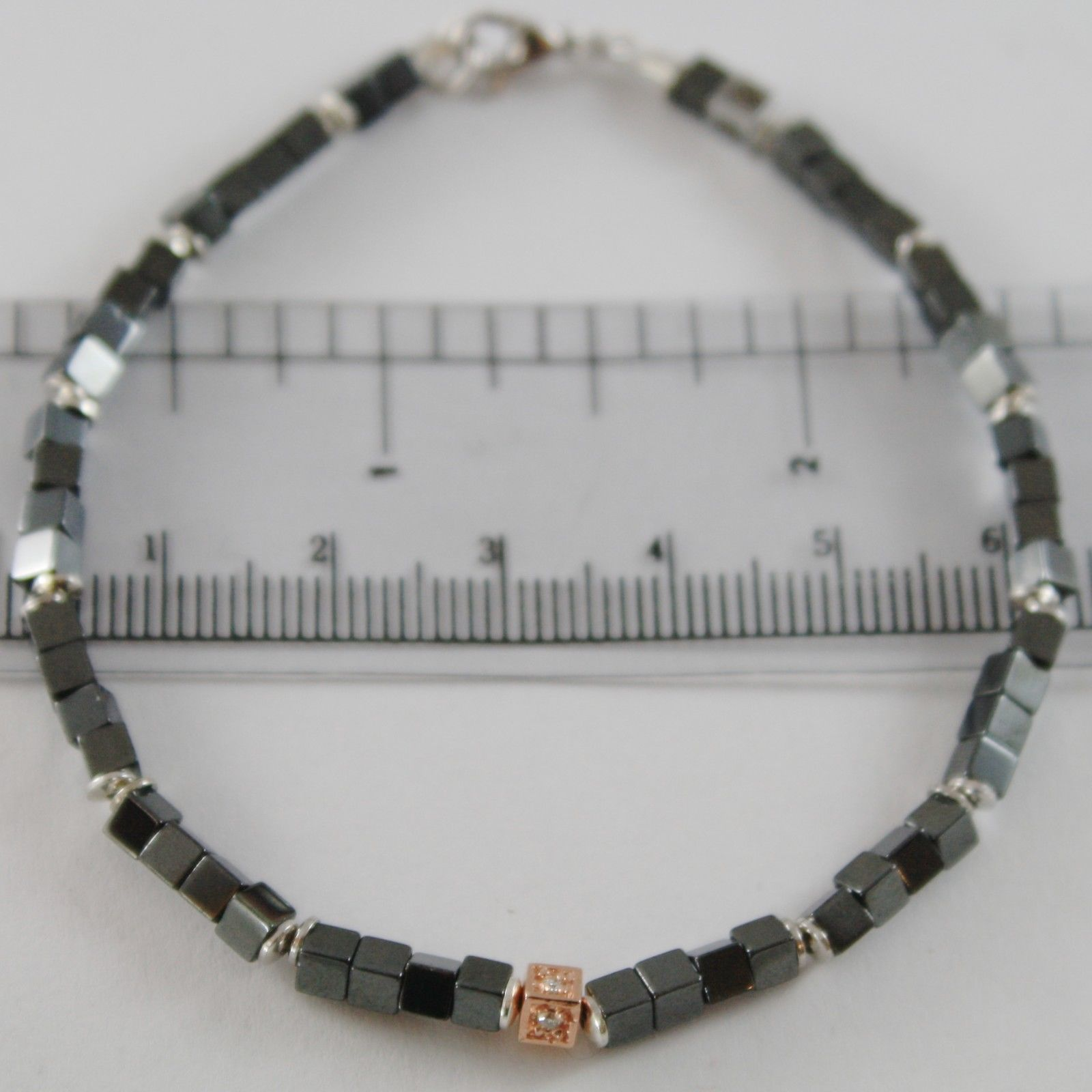 925 SILVER BRACELET 4 WHITE DIAMONDS & BLACK CUBES SMOOTH HEMATITE MADE IN ITALY