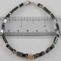 925 SILVER BRACELET 4 WHITE DIAMONDS & BLACK CUBES SMOOTH HEMATITE MADE IN ITALY image 1