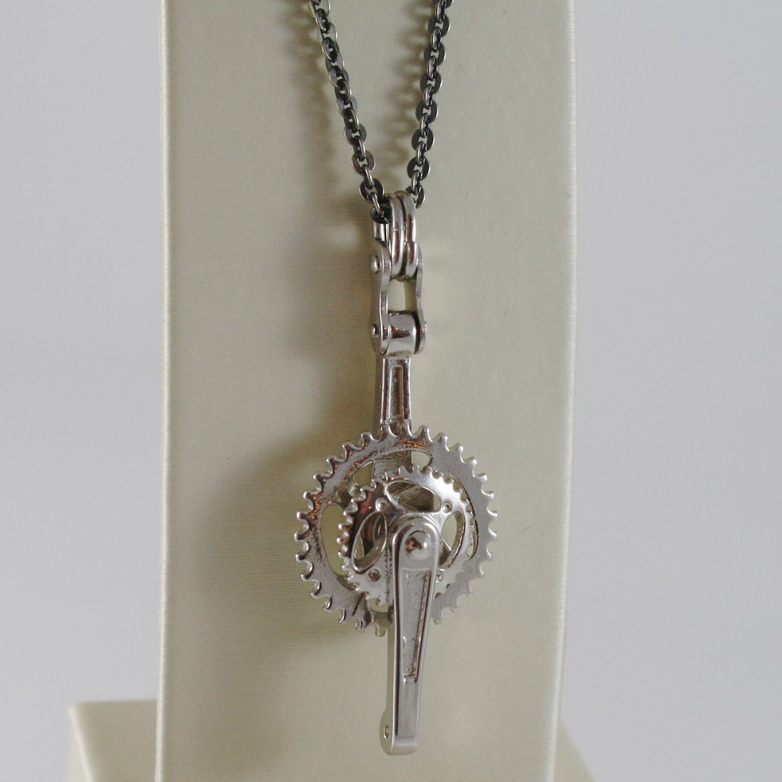 925 BURNISHED SILVER NECKLACE WITH BIKE CRANKSET CYCLING CRANK MADE IN ITALY