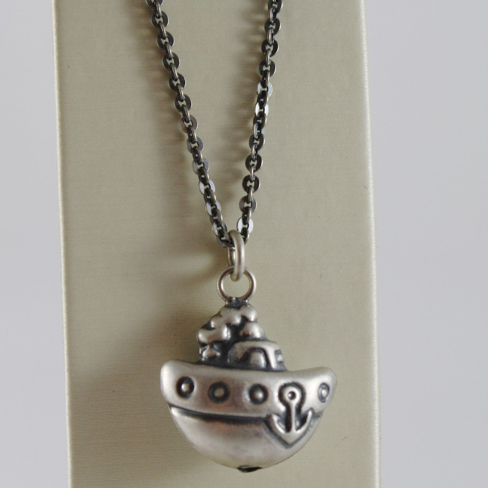 925 BURNISHED SILVER NECKLACE WITH ROUNDED BOAT ANCHOR PENDANT MADE IN ITALY