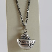 925 BURNISHED SILVER NECKLACE WITH ROUNDED BOAT ANCHOR PENDANT MADE IN I... - $113.05