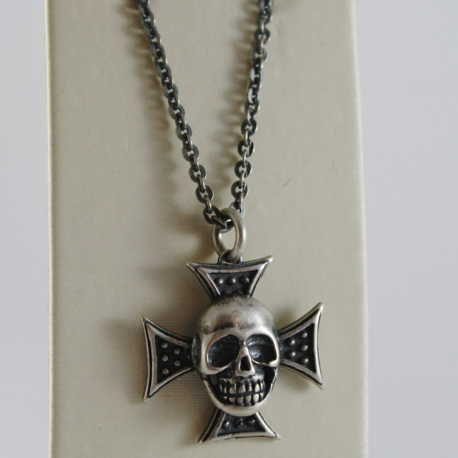 925 BURNISHED SILVER NECKLACE PIRATES SKULL WITH CROSS PENDANT MADE IN ITALY