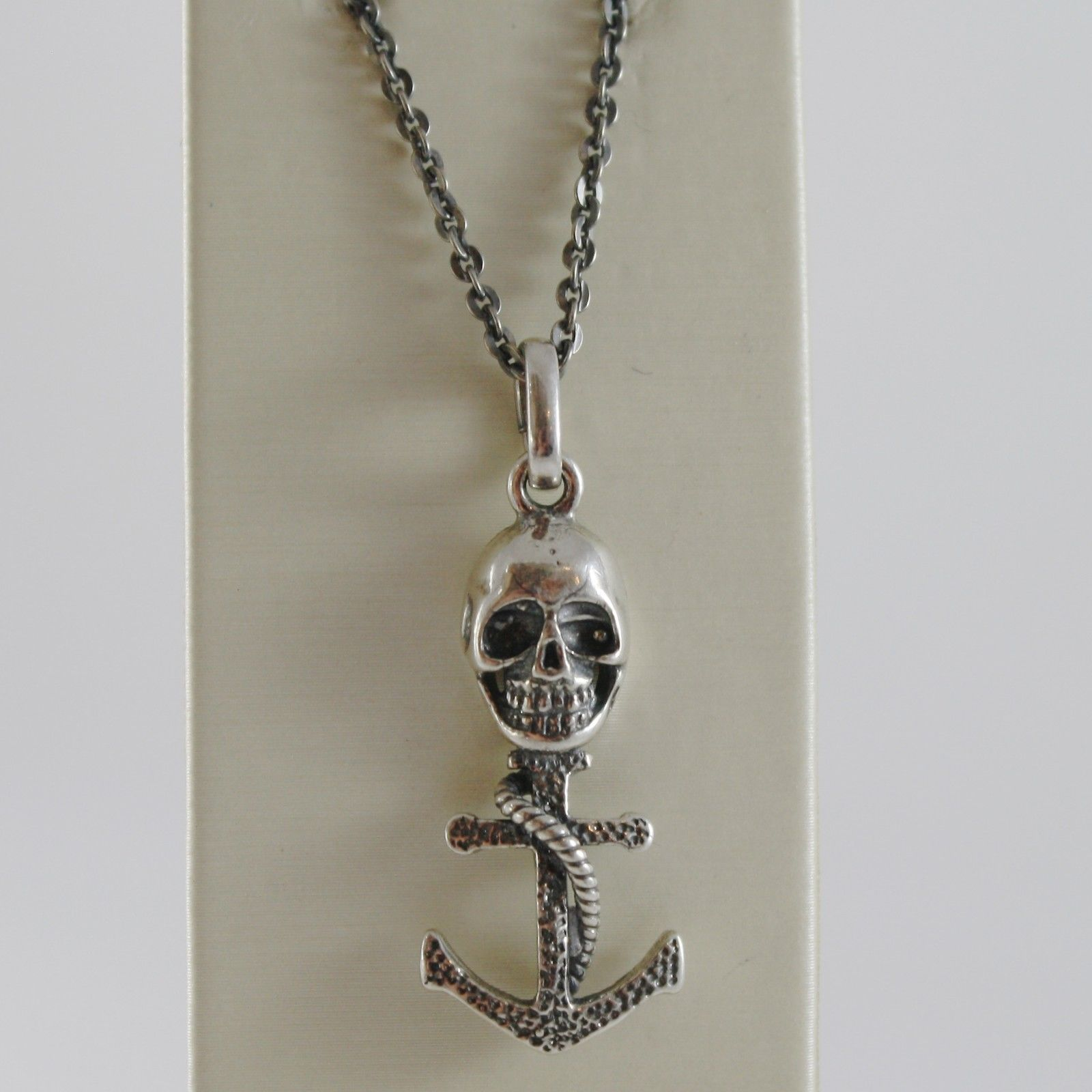 925 BURNISHED SILVER NECKLACE PIRATES SKULL ANCHOR ROPE PENDANT MADE IN ITALY