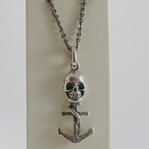 925 BURNISHED SILVER NECKLACE PIRATES SKULL ANCHOR ROPE PENDANT MADE IN ... - $122.55
