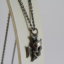 925 BURNISHED SILVER NECKLACE PIRATES SKULL WITH CROSS PENDANT MADE IN ITALY image 2