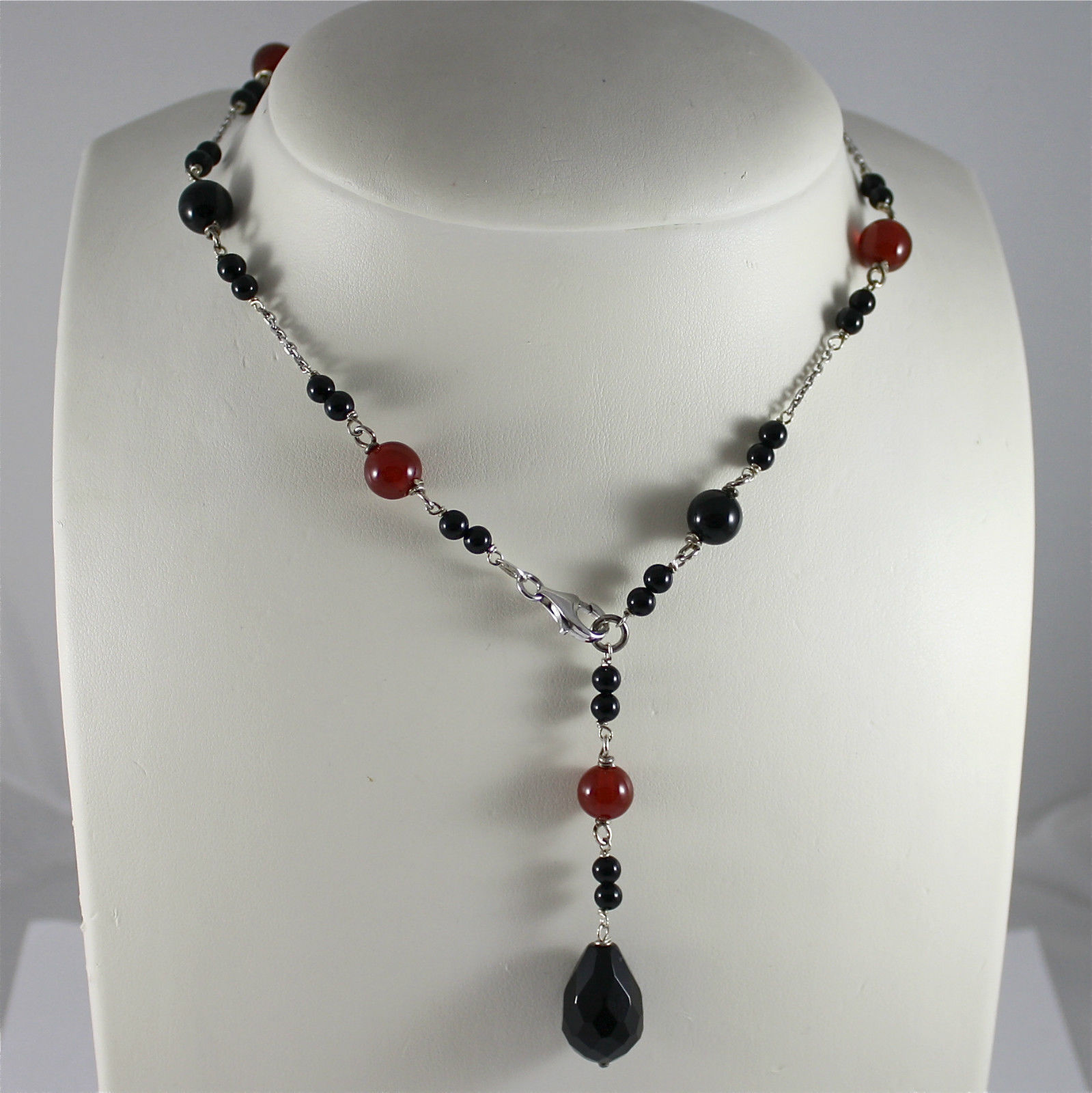 925 Silver Necklace Rhodium, sciarpina with drop, Carnelian and Onyx Black