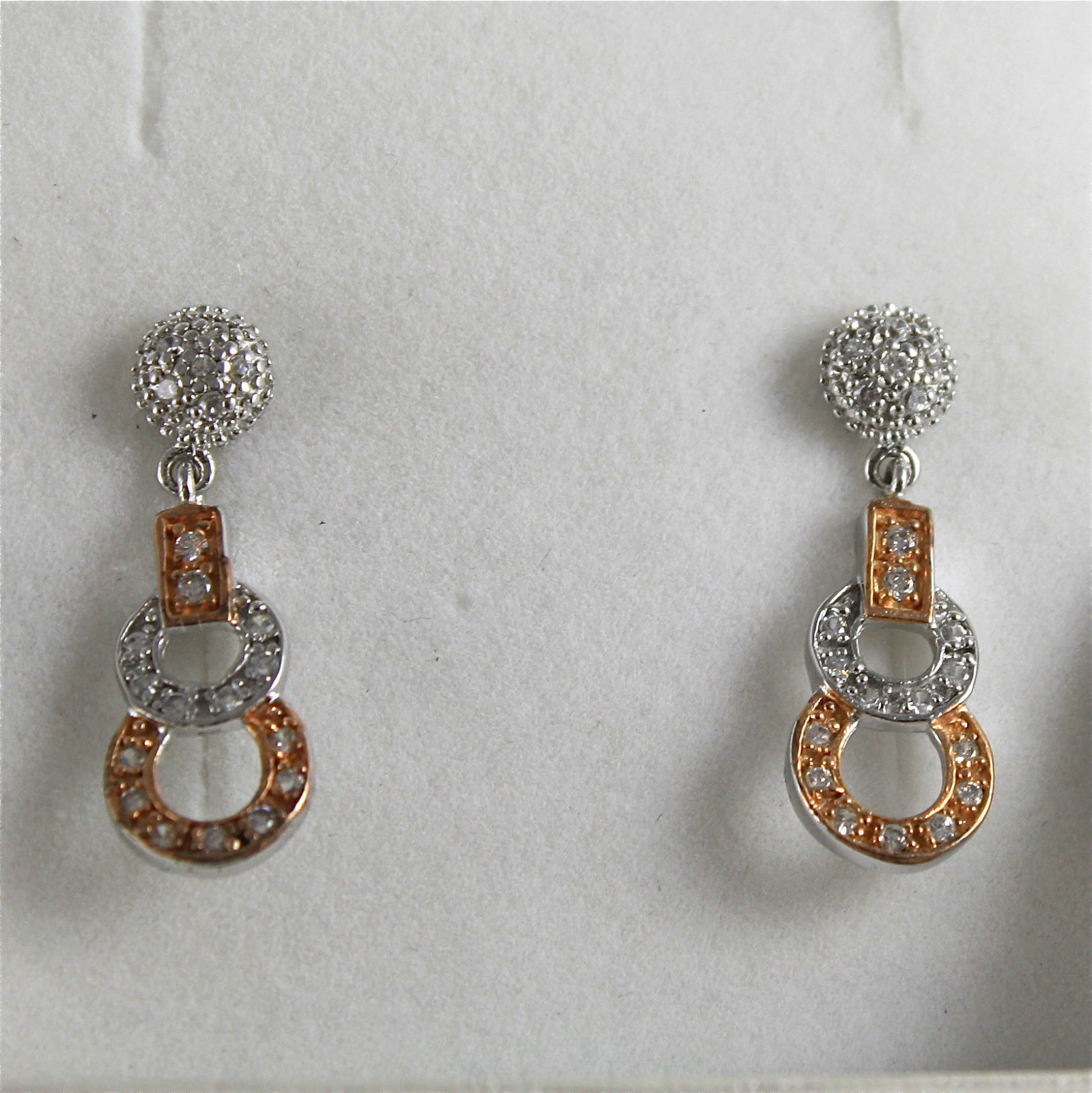 .925 RHODIUM SILVER EARRINGS, ROSE GOLD PLATED, ZIRCONIA, VINTAGE STYLE