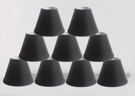Urbanest Linen Chandelier Lamp Shades, 6-inch, Hardback Clip On, Black(Set of 9) - $53.45