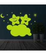 ( 39'' x 26'' ) Glowing Vinyl Wall Decal Twin Stars on Cloud / Glow in t... - $68.75