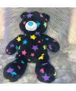 Build A Bear Workshop BAB Stuffed Black Teddy Bear with Multi-Colored St... - $22.00