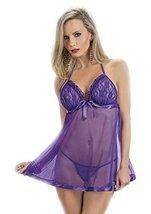 Escante Women's Lace Ribbon Baby Doll, Deep Purple, X-Large - $16.83