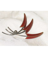 Vintage HANS MYHRE IN OSLO NORWAY. Sterling Enameled Leaf Pin Brooch - $196.85