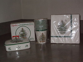SPODE Christmas Tree CARD BOX w/Lid  Made in England  Cups and Napkins Hallmark - $49.99