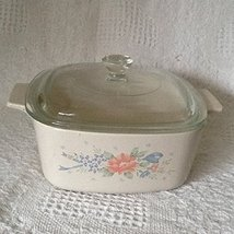 Vintage Corning Ware Symphony Flowers and Blue Ribbon Casserole Dish 1 L... - €23,87 EUR