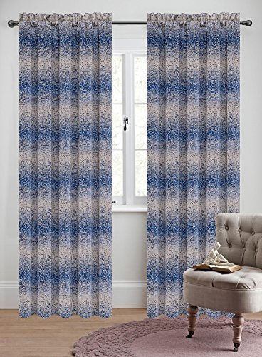 Urbanest 50-inch by 96-inch Set of 2 Jacquard Metro Drapery Curtain Panel, Blue
