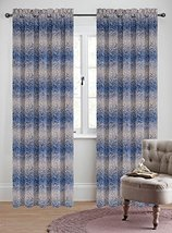Urbanest 50-inch by 96-inch Set of 2 Jacquard Metro Drapery Curtain Panel, Blue image 1