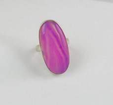 Cabochon ring, Pink Lace Agate Ring, natural gemstone rings, 925 sterlin... - $40.00
