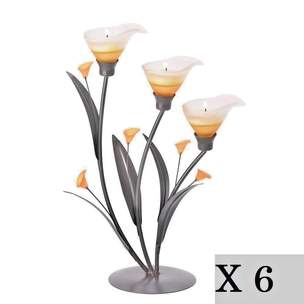 6 Lot Amber Lily Flower Tealight Candle Holder Wedding Centerpiece